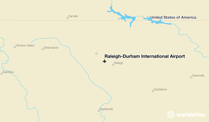 Raleigh-Durham International Airport location on a map