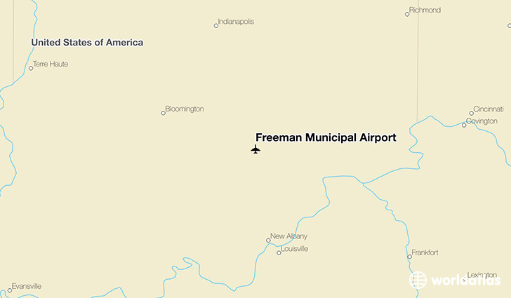 Freeman Municipal Airport location on a map