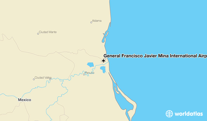 General Francisco Javier Mina International Airport location on a map