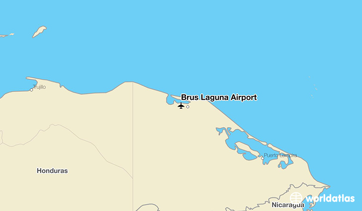 Brus Laguna Airport location on a map