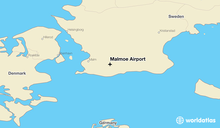 Malmö Airport location on a map
