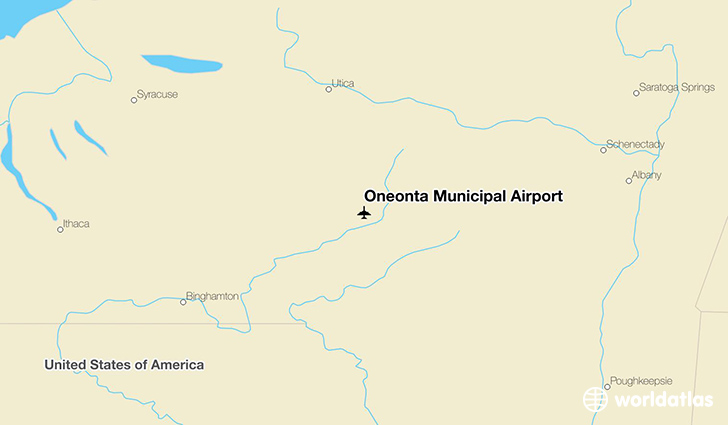 Oneonta Municipal Airport location on a map