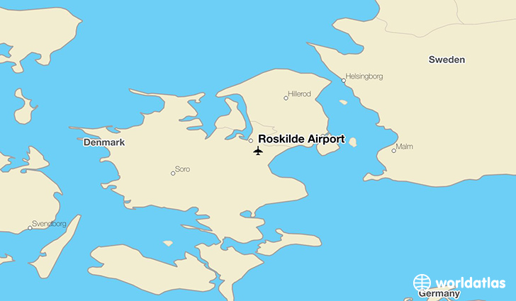 Roskilde Airport location on a map