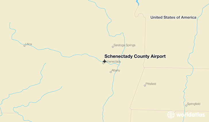 Schenectady County Airport location on a map