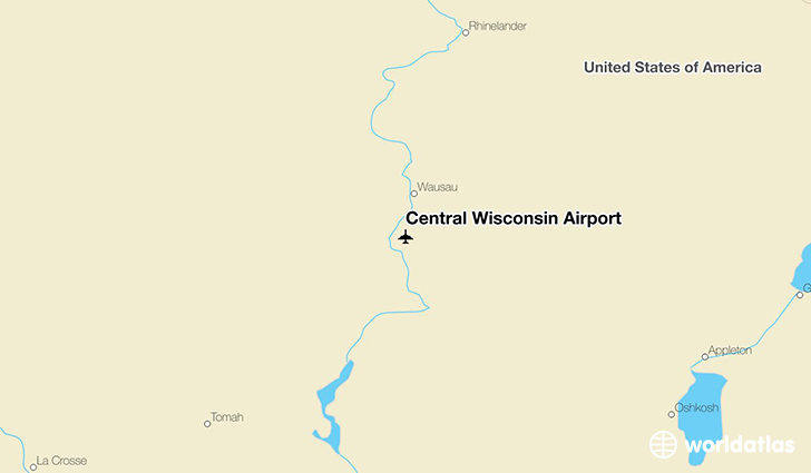 Central Wisconsin Airport location on a map