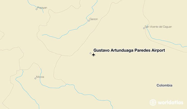 Gustavo Artunduaga Paredes Airport location on a map