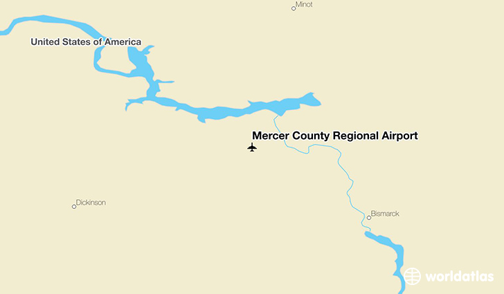 Mercer County Regional Airport location on a map