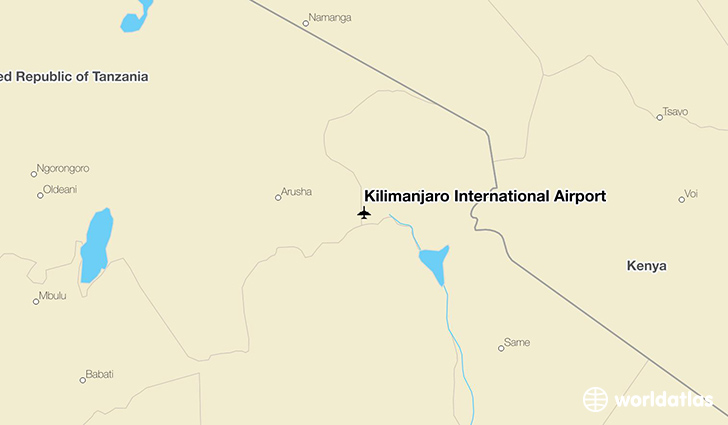 Kilimanjaro International Airport location on a map