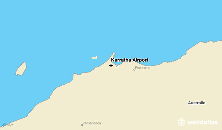 Karratha Airport location on a map