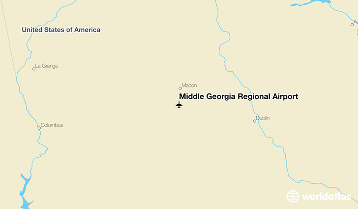 Middle Georgia Regional Airport location on a map