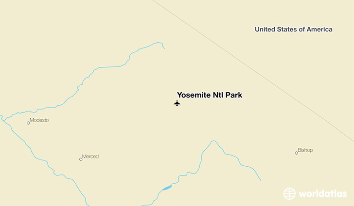 Yosemite Ntl Park location on a map