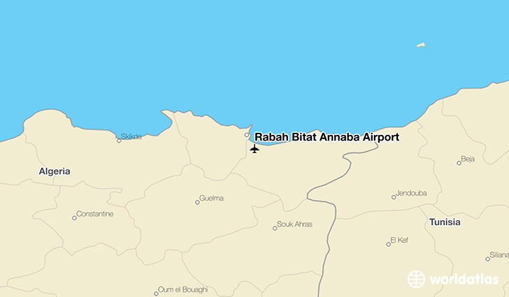 Rabah Bitat Annaba Airport location on a map