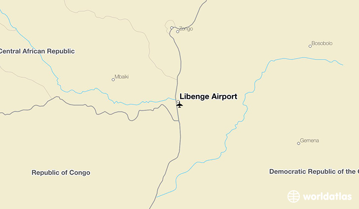 Libenge Airport location on a map