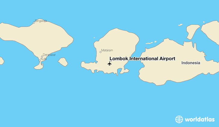 Lombok International Airport location on a map