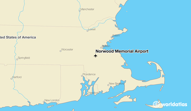 Norwood Memorial Airport location on a map