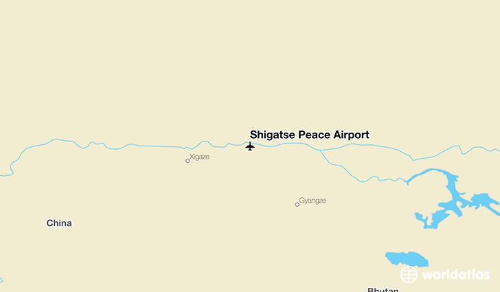 Shigatse Peace Airport location on a map