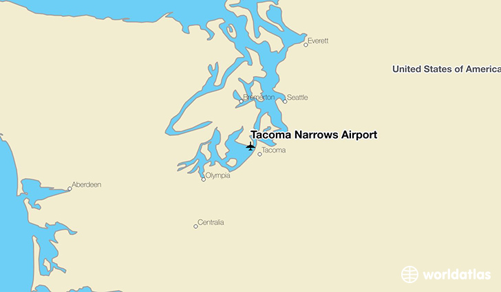 Tacoma Narrows Airport location on a map