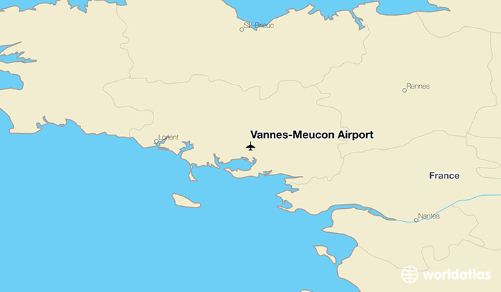 Vannes-Meucon Airport location on a map