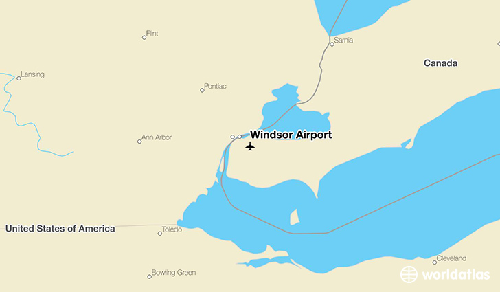 Windsor Airport location on a map
