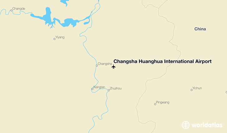 Changsha Huanghua International Airport location on a map