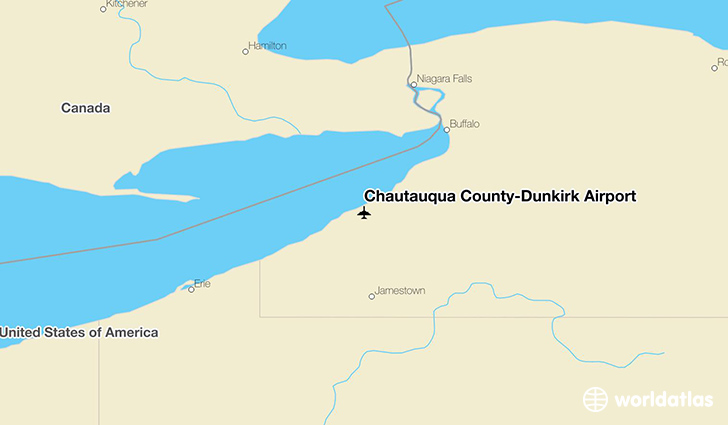 Chautauqua County-Dunkirk Airport location on a map