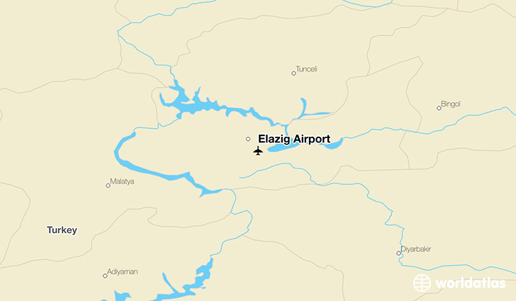 Elazığ Airport location on a map