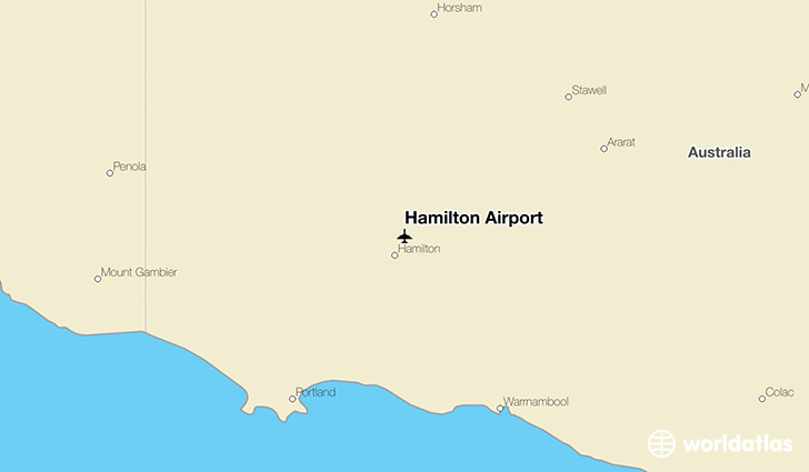 Hamilton Airport location on a map