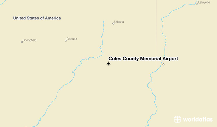 Coles County Memorial Airport location on a map