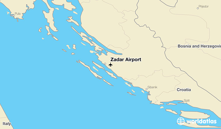 Zadar Airport location on a map