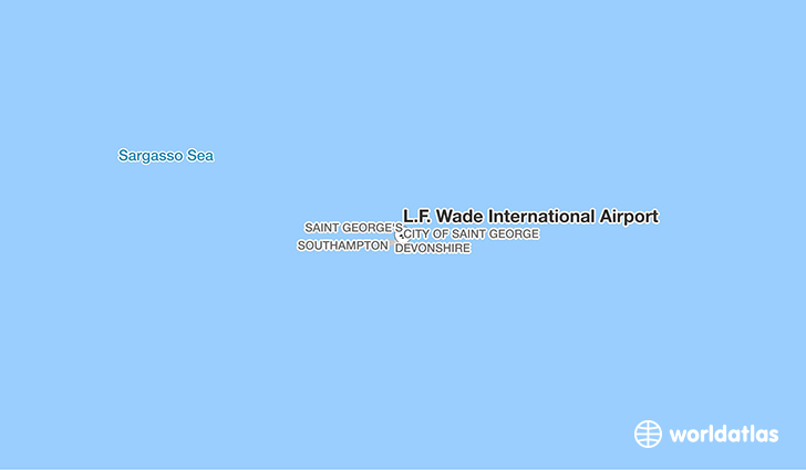 L.F. Wade International Airport location on a map