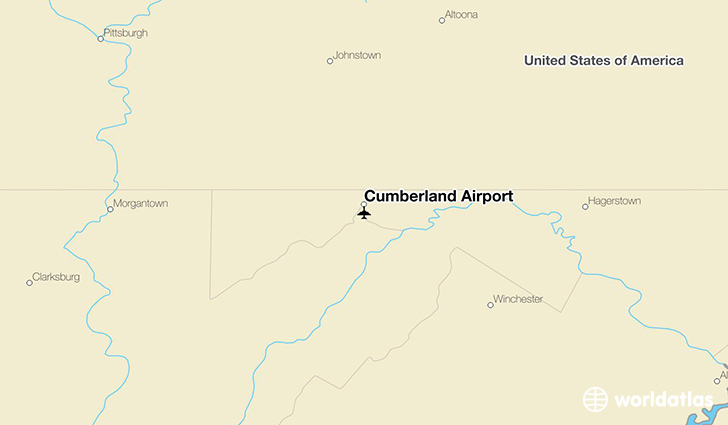 Cumberland Airport location on a map