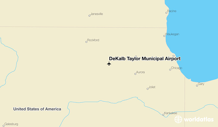 DeKalb Taylor Municipal Airport location on a map