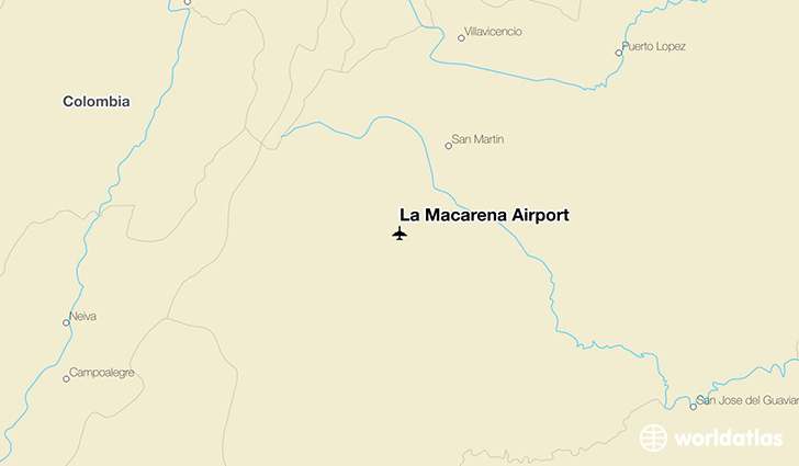 La Macarena Airport location on a map