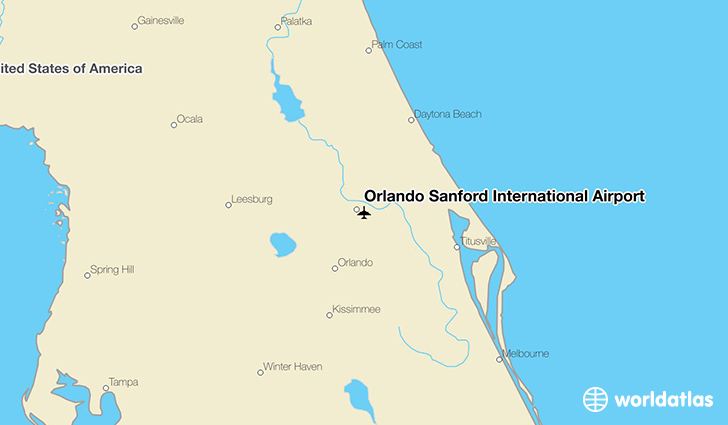 Orlando Sanford International Airport location on a map