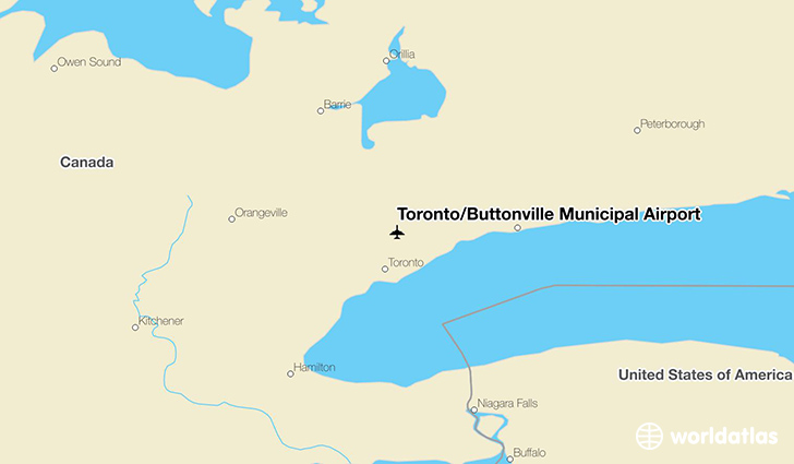Toronto/Buttonville Municipal Airport location on a map