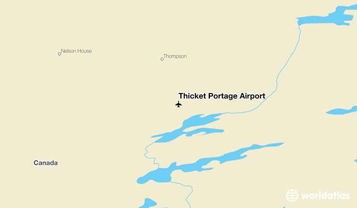 Thicket Portage Airport location on a map