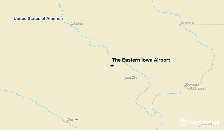 The Eastern Iowa Airport location on a map