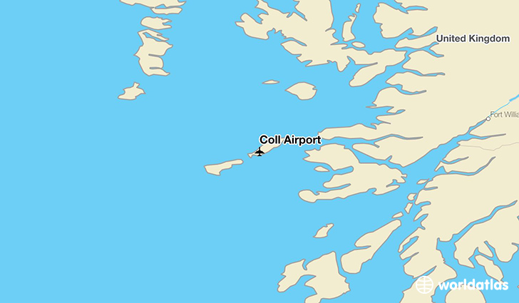 Coll Airport location on a map