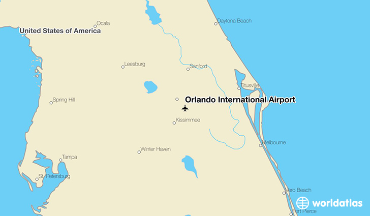 Orlando International Airport location on a map
