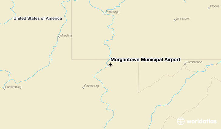 Morgantown Municipal Airport location on a map