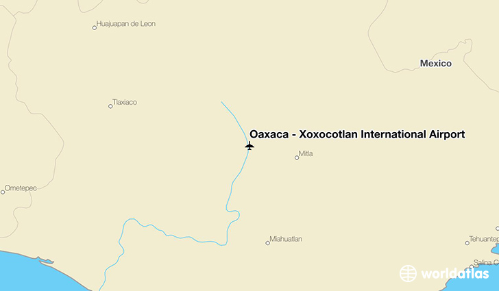 Oaxaca - Xoxocotlán International Airport location on a map