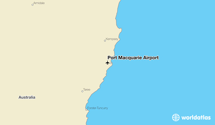 Port Macquarie Airport location on a map