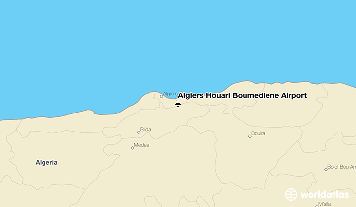 Algiers Houari Boumediene Airport location on a map