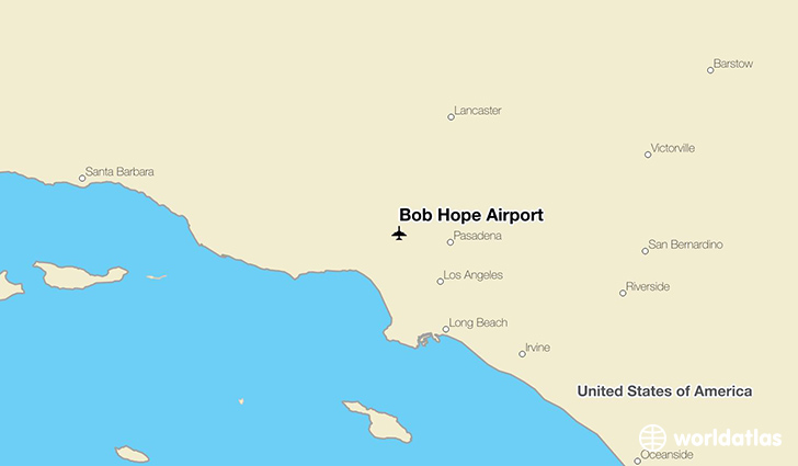 Bob Hope Airport location on a map