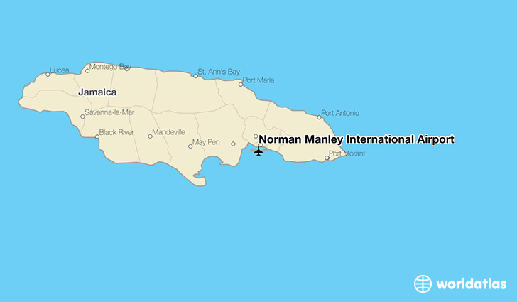 Norman Manley International Airport location on a map