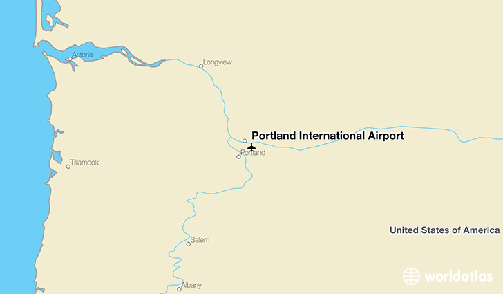 Portland International Airport location on a map