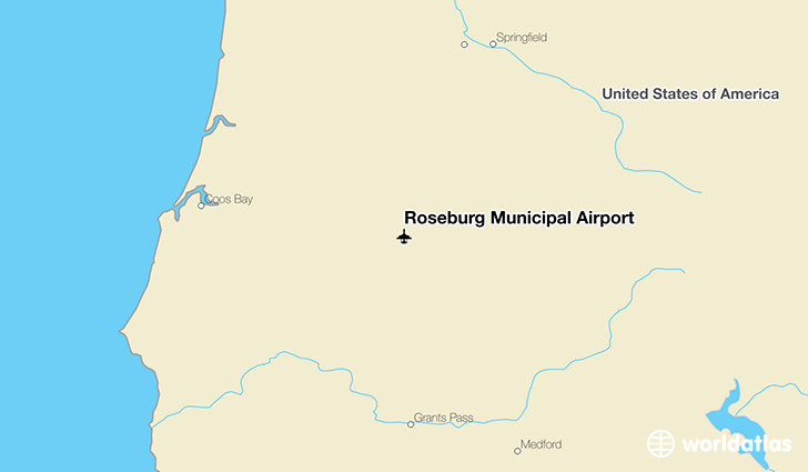 Roseburg Municipal Airport location on a map