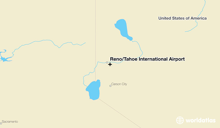 Reno/Tahoe International Airport location on a map
