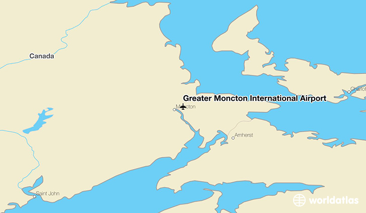 Greater Moncton International Airport location on a map