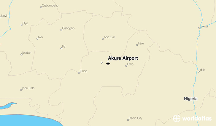 Akure Airport location on a map